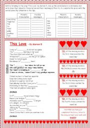English Worksheet: Valentine´s Day - This love - Song Activity