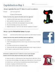 English Worksheet: Capitalization Day 1