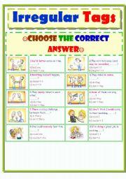 English Worksheets: Irregular tags..part two..