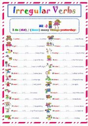 English Worksheets: Irrergular verbs