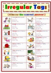 English Worksheets: Irregular Tags...