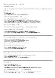English Worksheet: Comparison as... as / than