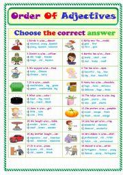 Worksheets Order Of Adjectives Worksheet english teaching worksheets order of adjectives adjectives