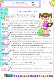 English Worksheet: Lily�s  Daily Routine  -  Reading Test