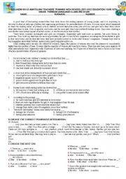 English Worksheet: exam for 10th grade