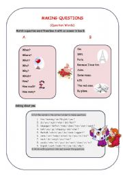 English Worksheet: Making Questions (Question words)