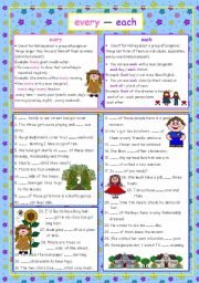 English Worksheet: every - each