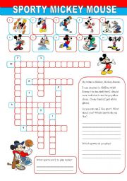 English Worksheet: Sporty Mickey Mouse