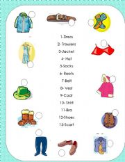English Worksheet: Clothes Pictionary 1/3