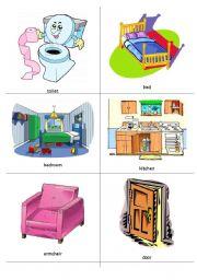 English Worksheet: House Flashcards