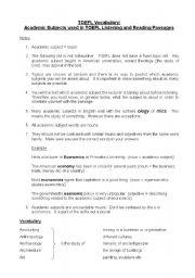 English Worksheets: TOEFL Vocabulary: Academic Subjects