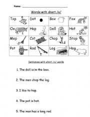 English Worksheets: short /o/