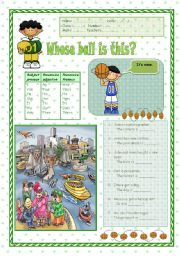 English Worksheet: Possessive adjectives / Possessive Pronouns