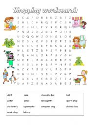 Types of shops and items wordsearch