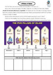 English Worksheet: five pillars of Islam in 3 cups of Tea