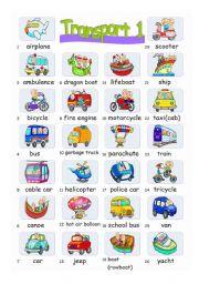 English Worksheets: Pictionary***Transports 1