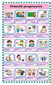 English Worksheets: present progressive