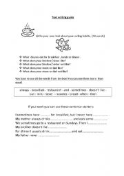 English worksheet: text writing guide on eating habits
