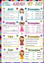 English Worksheets: Still, Already, Yet, Just Poster