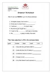 English Worksheets: Noun+Adj.+v Worksheet