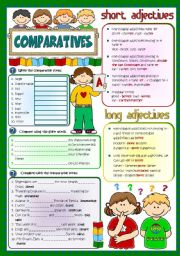 English Worksheet: Comparatives - Revision (Greyscale + KEY included)