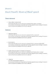 English Worksheets: Enoch Powells Rives of Blood