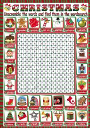 English Worksheet: CHRISTMAS WORDSEARCH