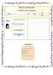 English Worksheet: GRAMMAR � Reported Questions