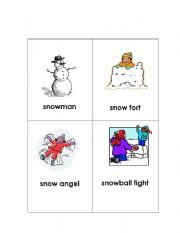 English Worksheets: snow flash cards