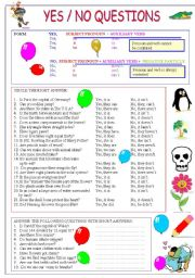 English worksheet: Yes/No questions and general knowledge