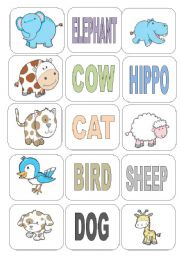 English Worksheets: ANIMALS FLASH-CARDS 2 PAGES