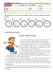 English Worksheet: Test on DAILY ROUTINE Version A