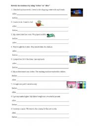 English Worksheets: time adverbs (before-after)