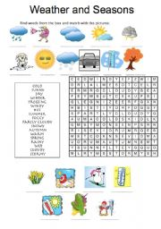 English Worksheet: WEATHER AND SEASONS - wordsearch