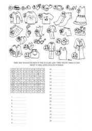 English Worksheet: CLOTHES WORD SEARCH