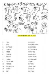 English Worksheet: CLOTHES - UNSCRAMBLE THE WORDS
