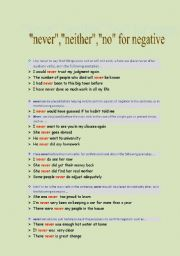 English Worksheet: never, neither....nor, no,........ for negative