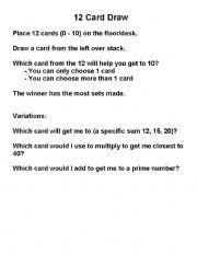 English Worksheets: 12 Card Draw