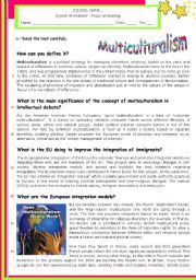 English Worksheet: Multiculturalism  - What is it?