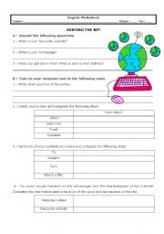 English Worksheet: Surfing the net