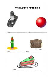English Worksheets: What�s this ? It�s a...