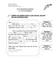 English Worksheet: writing a letter to new pen pal