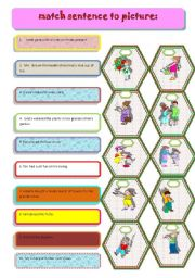 English Worksheets: match sentence to picture