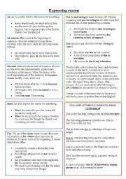 English Worksheets: Expressing reason