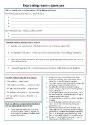English Worksheets: Expressing reason exercises