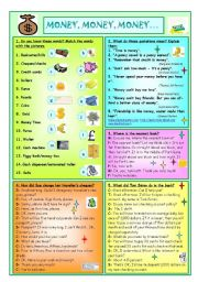 English Worksheet: Money, Money, Money....