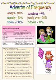 English Worksheets: adverbs of frequency