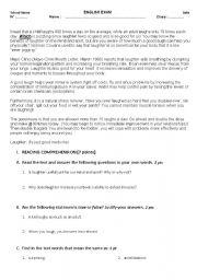 English Worksheets: Laughter benefits