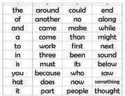 English Worksheets: Sight word lists
