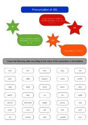 English Worksheet: PRONUNCIATION ED ENDING